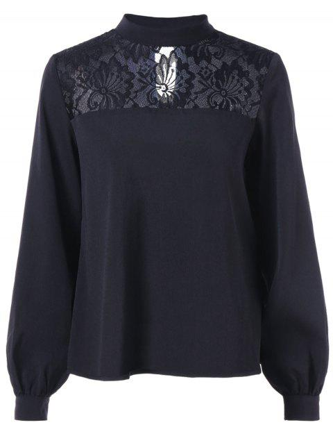 Floral Lace Panel Puff Sleeve Blouse - BLACK 2XL