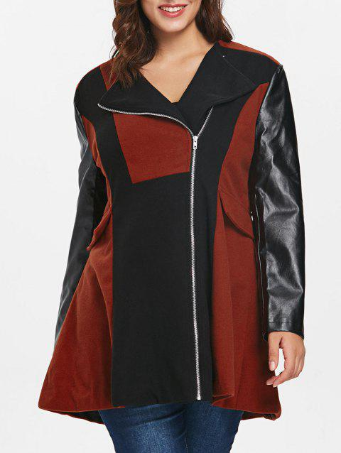 Flap Pocket Plus Size Zip Coat - CHESTNUT RED 1X