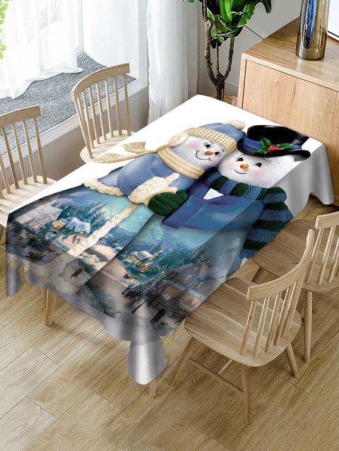 Snowman Couple Print Waterproof Tablecloth - multicolor W60 X L84 INCH