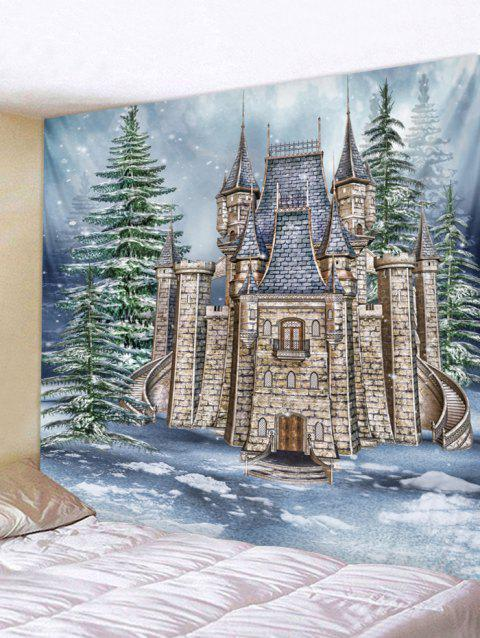 Christmas Castle Forest Printed Wall Tapestry Art Decor - multicolor W59 X L51 INCH