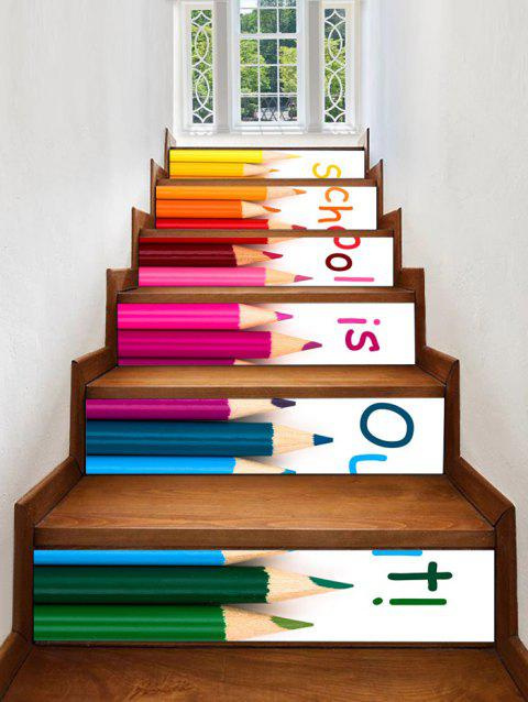 Pencil Quote Pattern Stair Stickers - multicolor 6PCS X 39 X 7 INCH( NO FRAME )