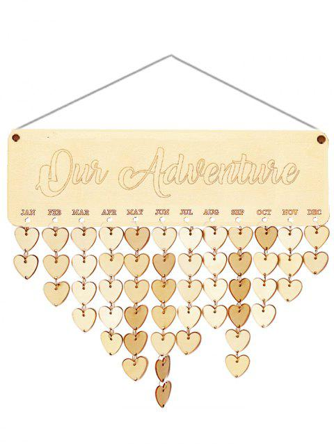 Wooden Our Adventure Calendar Board - BURLYWOOD HEART