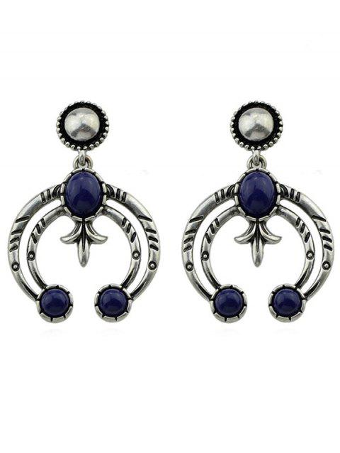 Hollow Crescent Moon Artificial Gem Earrings - SILVER