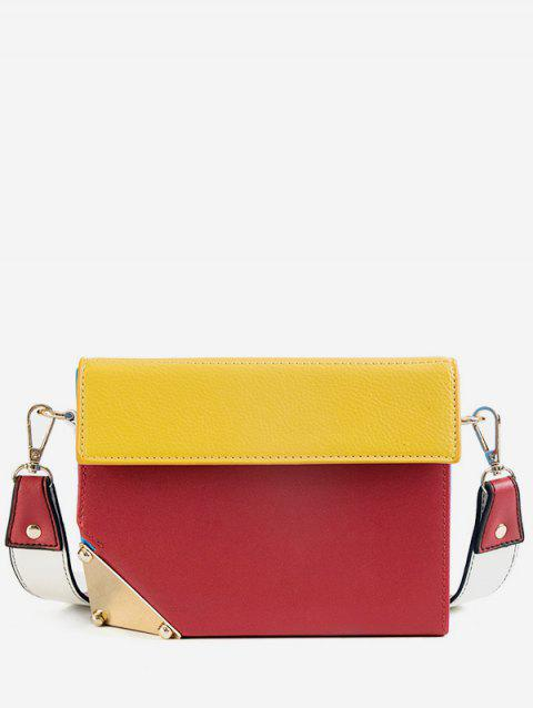 Mini Contrast Color Crossbody Bag - RED