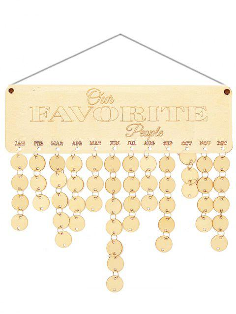 Wooden Our Favorite People Calendar Board - BURLYWOOD ROUND