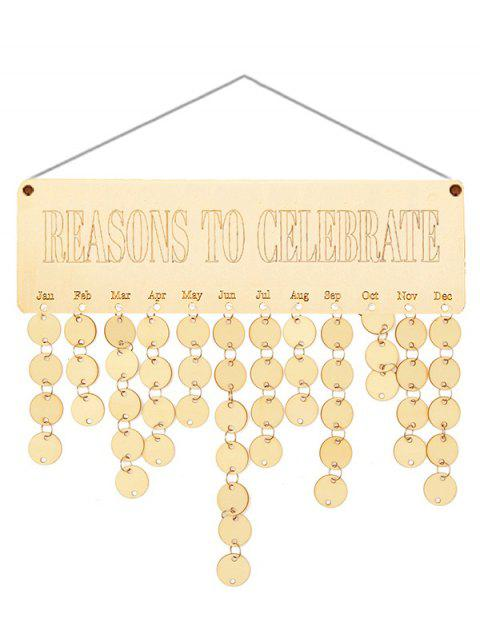 Wooden Reasons to Celebrate Calendar Reminder - BURLYWOOD ROUND