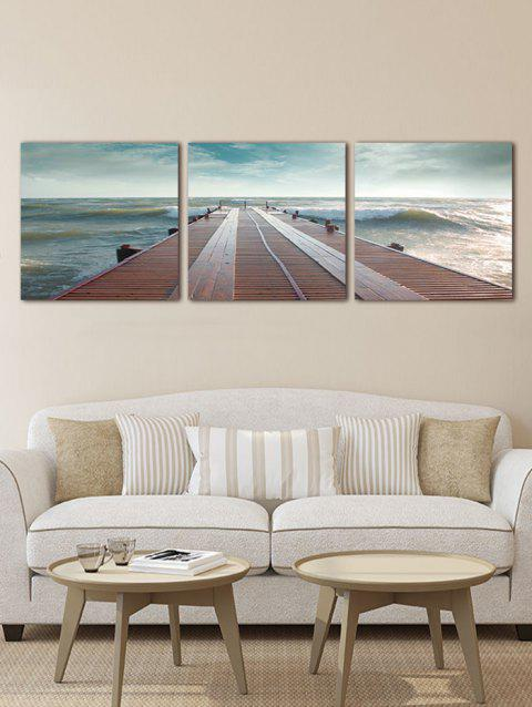 Seaside Fridge Print Unframed Canvas Paintings - multicolor 3PCS X 12 X 12 INCH( NO FRAME )