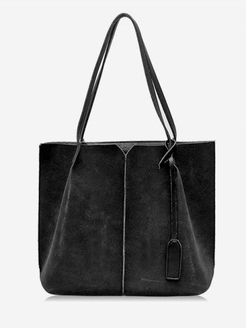 Faux Suede 2 Pieces Minimalist Shoulder Bag Set - BLACK
