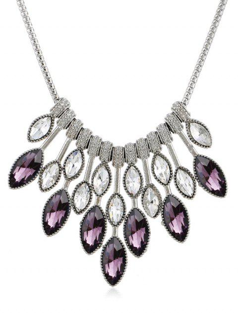 Maple Leaves Shaped Rhinestone Elegant Necklace - VIOLA PURPLE