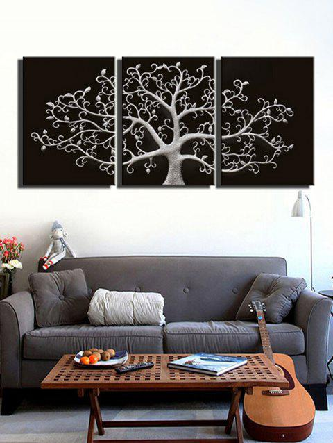 Tree Print Unframed Canvas Paintings - BLACK 3PCS X 12 X 18 INCH( NO FRAME )