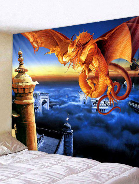 Fly Dragon Printed Wall Tapestry Art Decor - multicolor W79 X L71 INCH