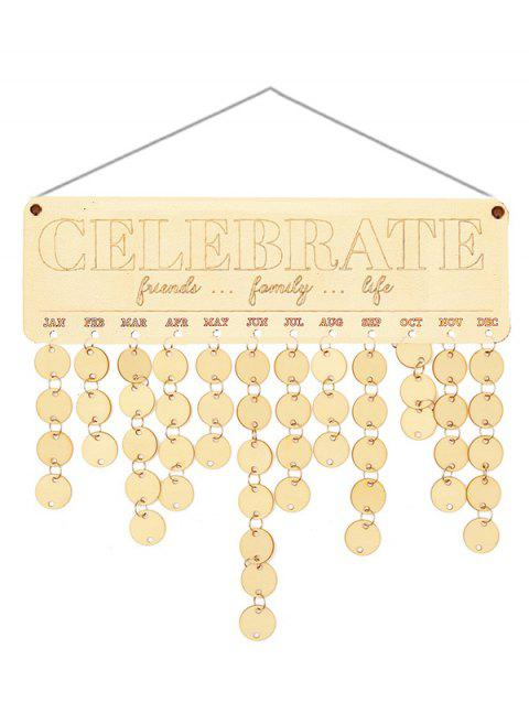 Wooden Friends Family Life Calendar Board - BURLYWOOD ROUND