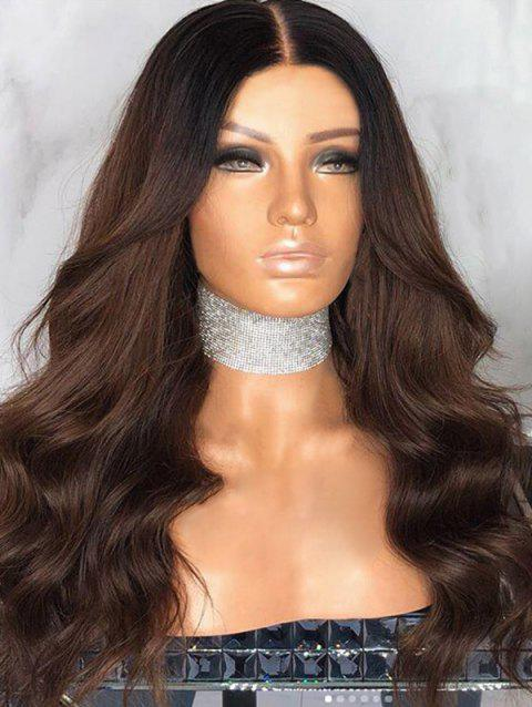 Long Capless Ombre Middle Part Wavy Synthetic Wig - multicolor