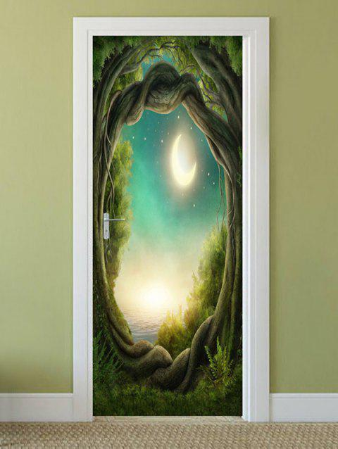 Moon Night Tree Hole Pattern Door Stickers - multicolor 2PCS X 15 X 79 INCH