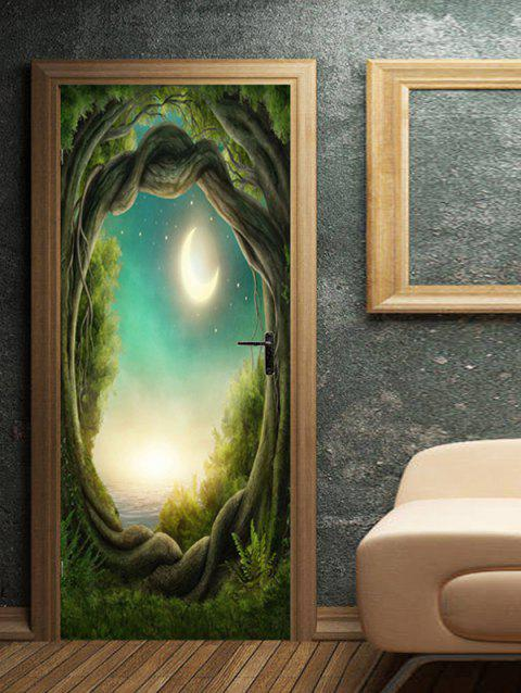 Moon Night Tree Hole Pattern Door Stickers - multicolor 2PCS X 18 X 79 INCH