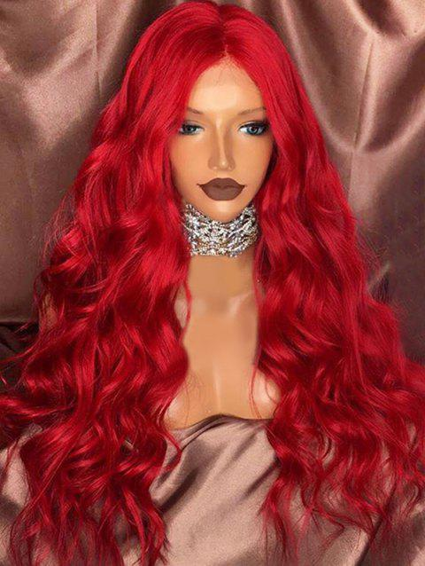 Long Center Parting Wavy Synthetic Halloween Christmas Carnival Party Wig - CHESTNUT RED