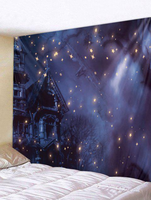Starry Sky Night Printed Wall Tapestry Art Decor - PURPLE W79 X L71 INCH