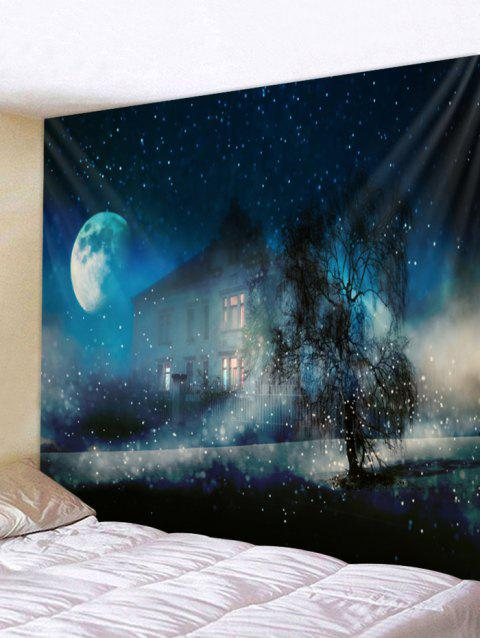 Starry Night House Print Tapestry Wall Art - multicolor W91 X L71 INCH