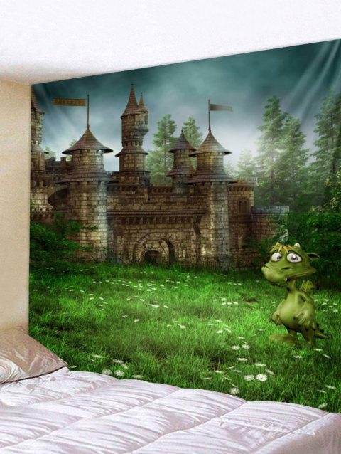 Forest Castle Pattern Wall Tapestry Art Decoration - GREEN W79 X L59 INCH
