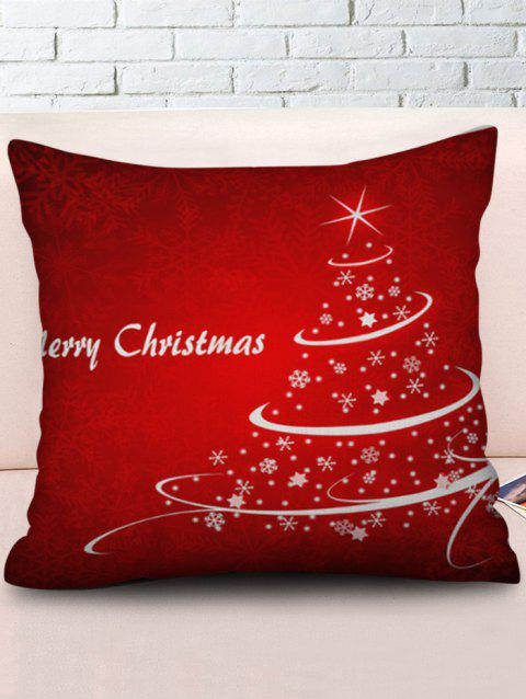 Snowflakes Christmas Tree Printed Throw Pillow Case - LAVA RED W18 X L18 INCH