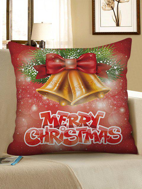 Motif de Noël Bells Home Decor Throw Pillow Case - Rouge Cerise W18 X L18 INCH