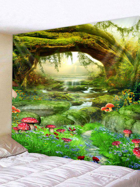 Plant Mushroom Printed Wall Tapestry Art Decor - multicolor W79 X L71 INCH