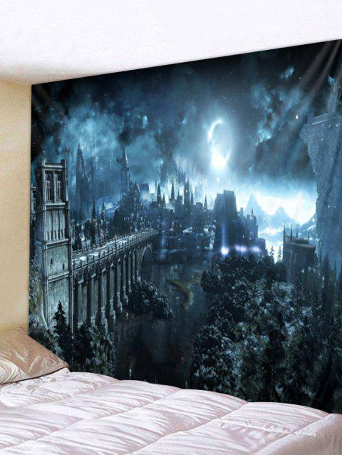 Halloween Night Printed Wall Tapestry Decor - GRAY W91 X L71 INCH