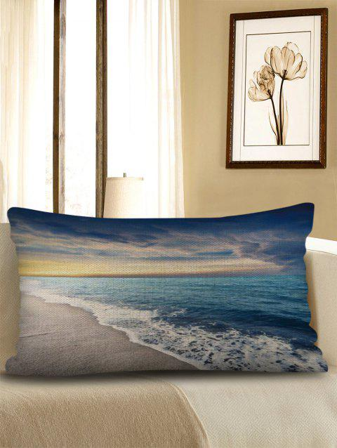 Beach Wave Print Sofa Linen Waist Pillowcase - multicolor W12 X L20 INCH
