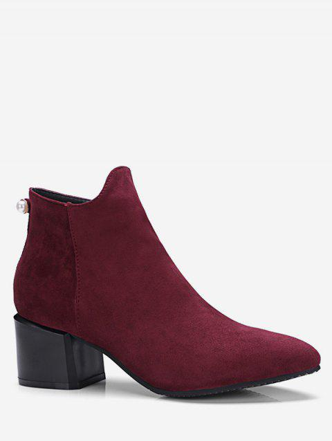 Plus Size Pointed Toe Faux Pearl Ankle Boots - RED WINE EU 43