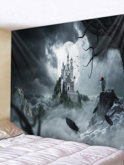 Halloween Night Castle Print Tapestry Wall Art Decor - multicolor W59 X L59 INCH