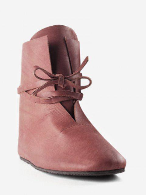 Plus Size Self Tie PU Leather Ankle Boots - DEEP BROWN EU 41