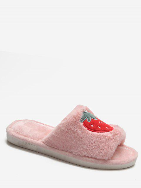 Cartoon Fruit Winter Fluffy Slippers - LIGHT PINK EU 40