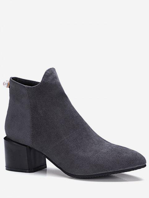 Plus Size Pointed Toe Faux Pearl Ankle Boots - GRAY EU 39