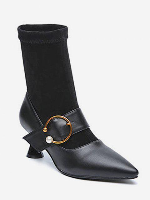 Pointed Toe Sock Short Boots - BLACK EU 38