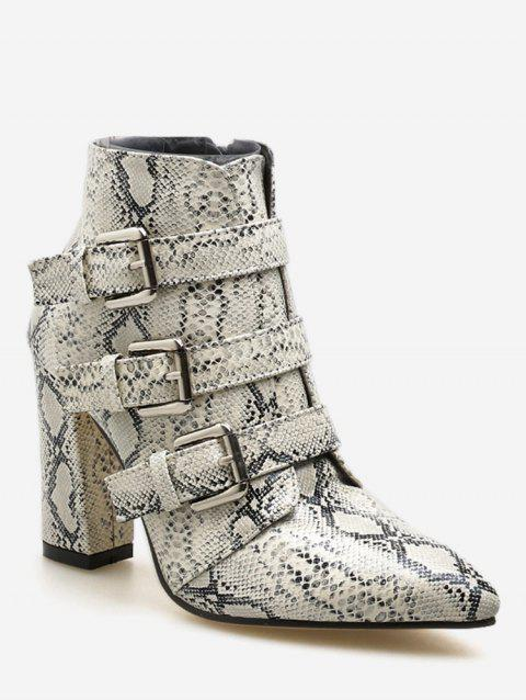 Snake and Leopard Print Pointed Toe Boots - multicolor A EU 36
