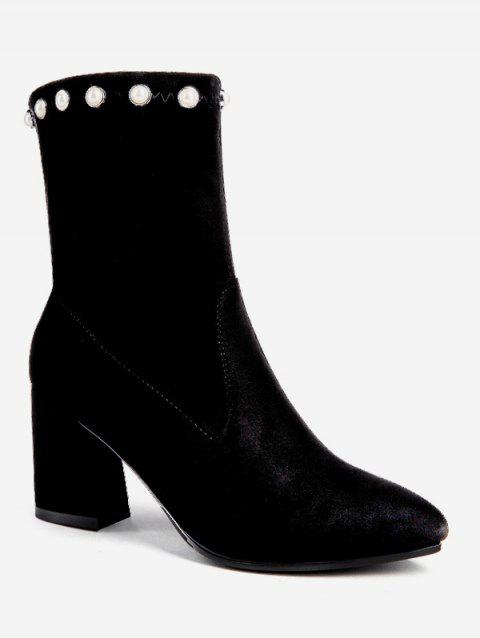 Faux Pearl Pointed Toe Short Boots - BLACK EU 40