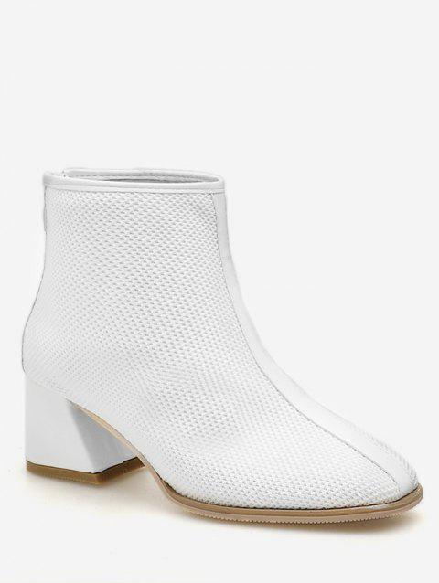 Knit Mesh Pointed Toe Ankle Boots - WHITE EU 39