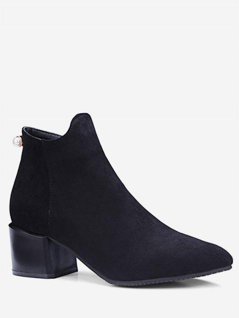 Plus Size Pointed Toe Faux Pearl Ankle Boots - BLACK EU 37