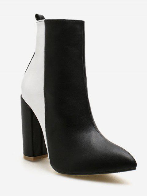 Color Block Pointed Toe Short Boots - BLACK EU 36