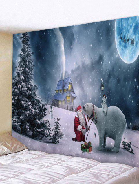 Christmas Night Bear Print Tapestry Wall Art - multicolor W91 X L71 INCH