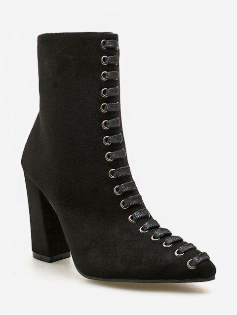 Lace Decorative Chunky Heel Short Boots - BLACK EU 38