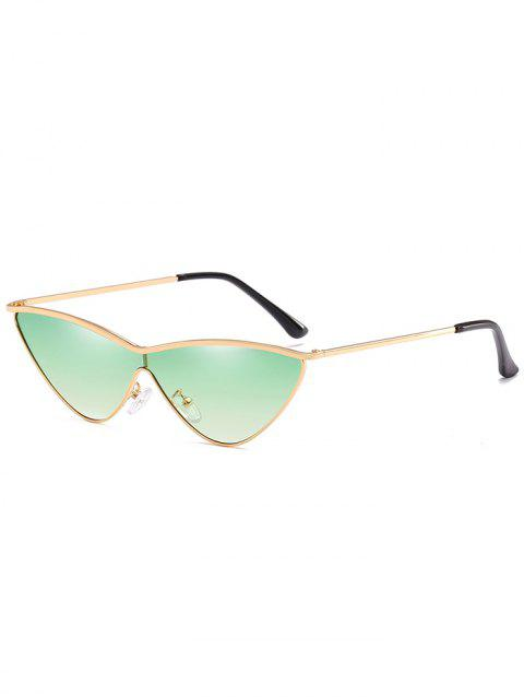 Vintage Alloy One Piece Catty Sunglasses - CYAN OPAQUE
