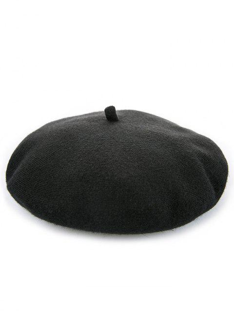 Retro Solid Color Winter Beret - BLACK