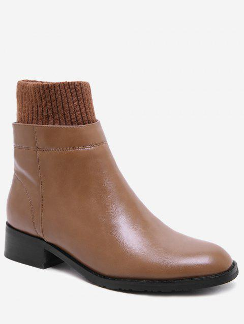 Knitted Sock Insert Ankle Boots - BROWN EU 37