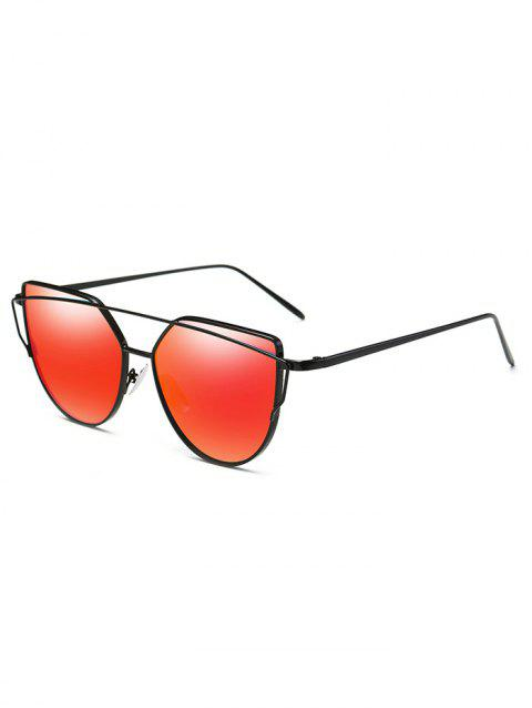 Retro Metal Full Frame Crossbar Sunglasses - CHESTNUT RED