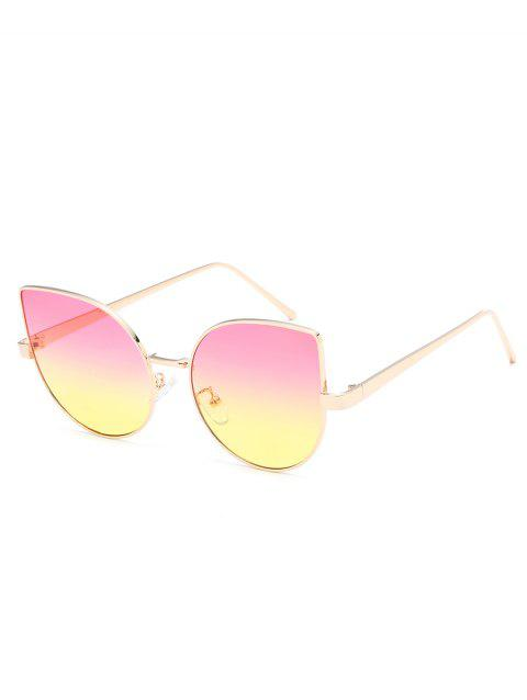 Vintage Metal Frame Flat Lens Catty Sunglasses - PINK ROSE