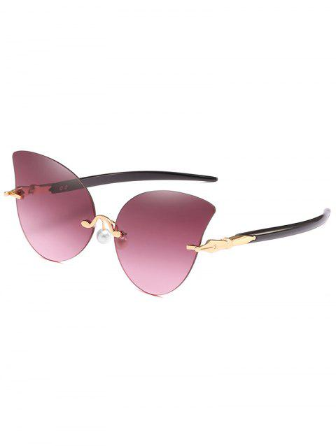 Elegant Artificial Pearl Nose Pad Butterfly Sunglasses - LIPSTICK PINK