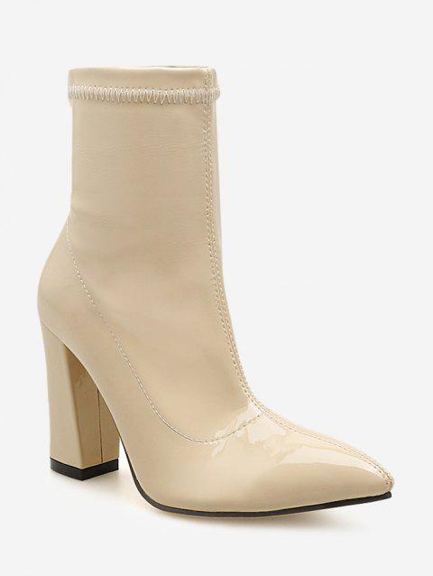 Pointed Toe Patent Leather Short Boots - WARM WHITE EU 40