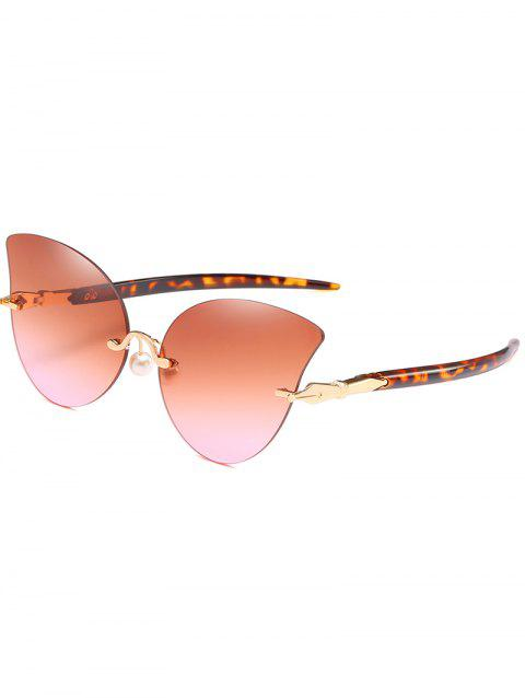 Elegant Artificial Pearl Nose Pad Butterfly Sunglasses - SANDY BROWN