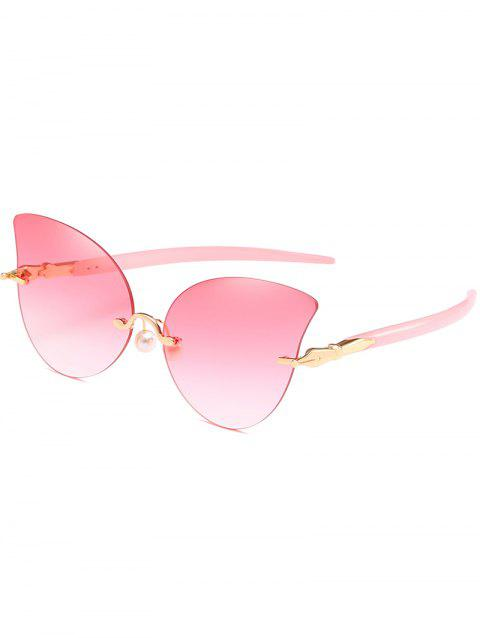 Elegant Artificial Pearl Nose Pad Butterfly Sunglasses - PINK